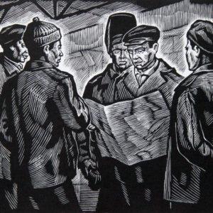 Андрушкевич В.И. (1923-2010). засл. худ. РФ. Свежая многотиражка. 1987. Линогравюра