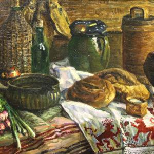 Журавлев Л.Н. (11931-2008). Натюрморт с хлебом. Холст, масло