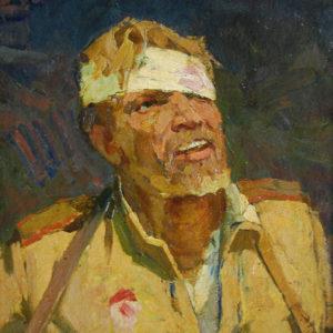 Журавлев П.М. (1925-1986). Раненый солдат. Холст, масло