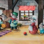 Ионайтис О.Р. Дедушка, Мышь и внучек. Илл. к сказке С.Элби. Б., акв., карандаш