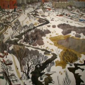 Комарова М.А. Яуза зимой. Вид с высоты птичьего полета. Ул. Семашко, д. 4, корп. 3. Бумага, акварель, карандаш