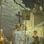 Пермиловский. Крестный ход на Пасху в селе Тайнинском. 2004. Холст, масло