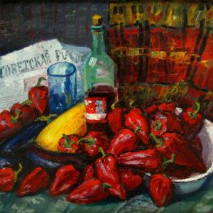 Шмидт Г.Э. Красные перцы. 1995. Картон, холст, масло